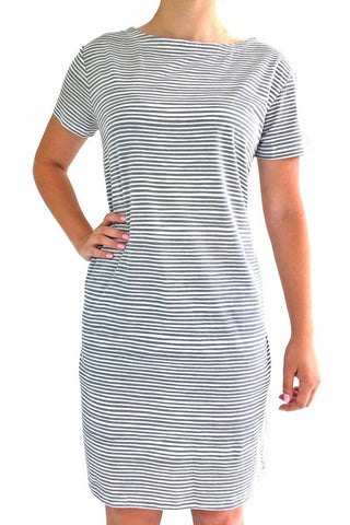 See Design Strings Dress Grey/White