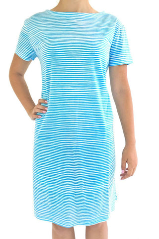 See Design Strings Dress Turquoise/White