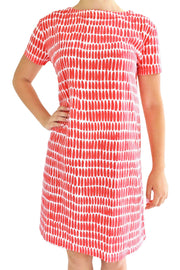See Design Wall Dress Red/White