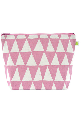 See Design Travel Pouch X-Large Bag Triangles Mauve/White