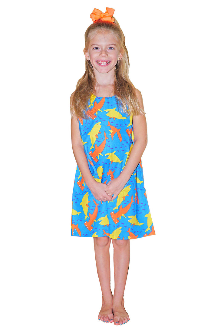 KIITOSlife KiitosKids Shark Kids Dress Blue/Orange/Yellow - KIITOSlife - 2