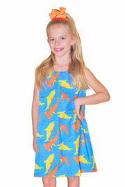 KIITOSlife KiitosKids Shark Kids Dress Blue/Orange/Yellow - KIITOSlife - 1