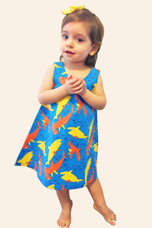 KiitosKids Shark Kids Dress Blue/Orange/Yellow