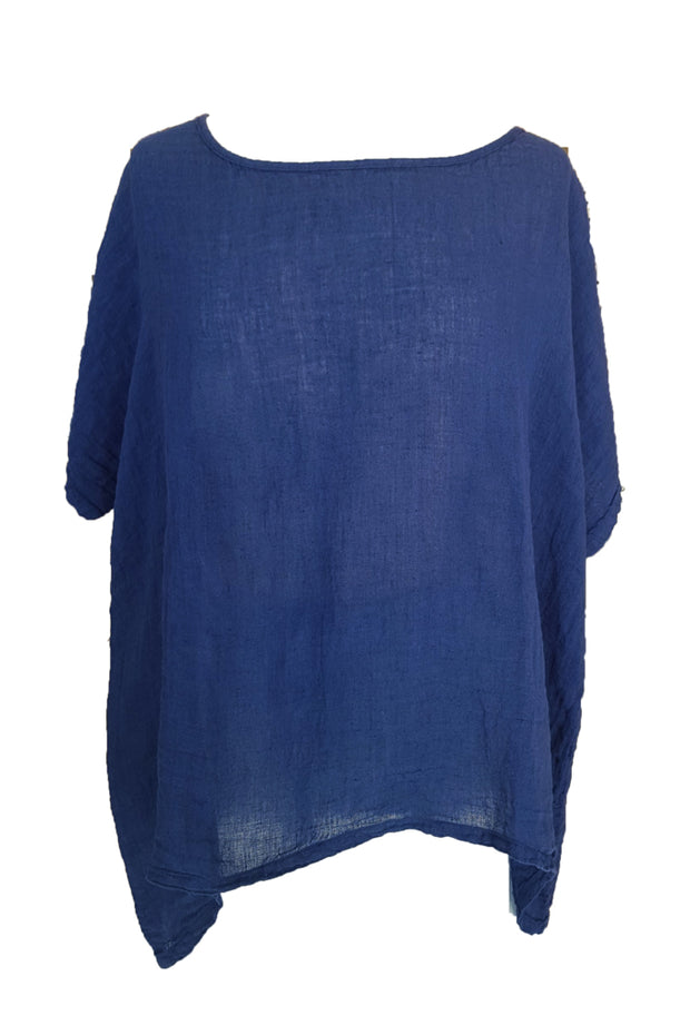 Kiitos Short Linen Gauze Top Ink Blue