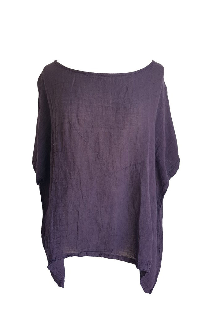 Kiitos Short Linen Gauze Top Purple