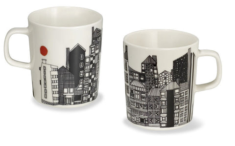 Marimekko Siirtolapuutarha Mug w/Handle Black/White/Orange