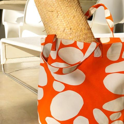 See Design Large Circle Tote Bag Totem Orange