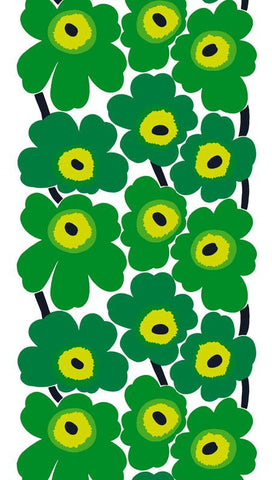 Marimekko Unikko Oilcloth Fabric Bright Green/White