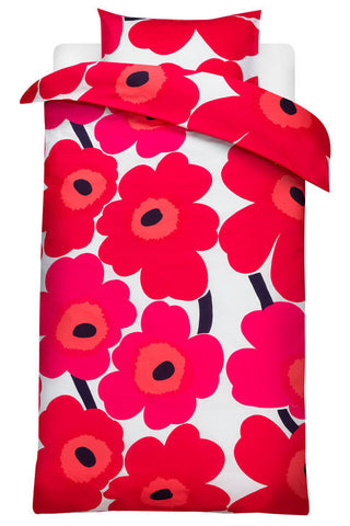 Unikko Euro Bedding Red/White