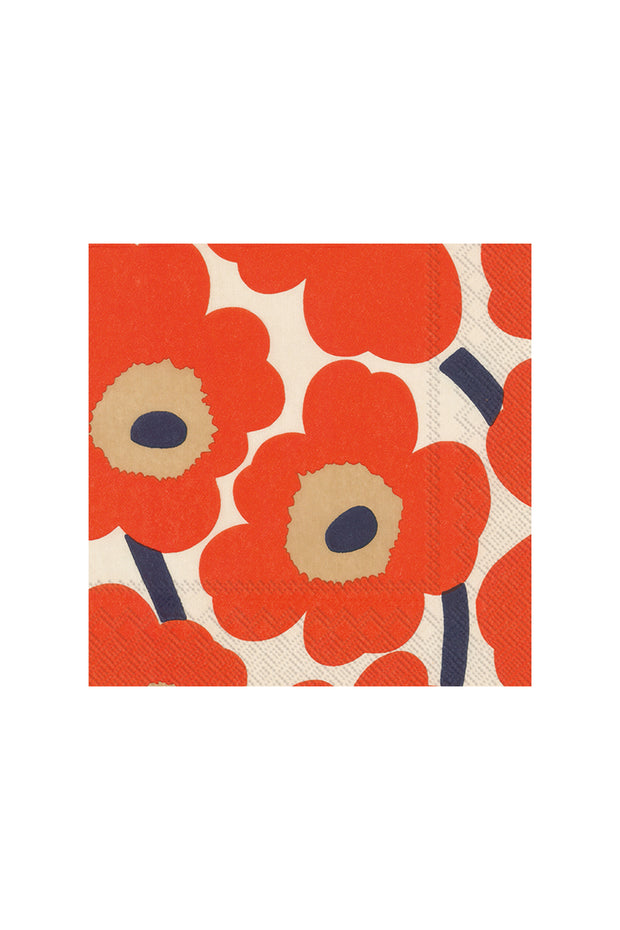 Marimekko Unikko Cocktail Napkins Cream/Red