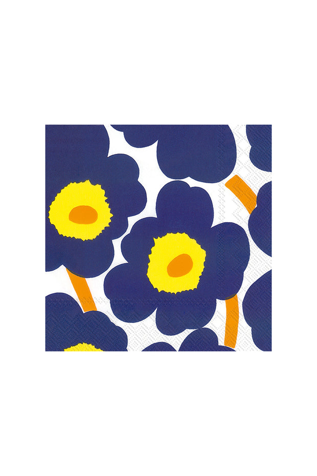 Marimekko Unikko Cocktail Napkins Dark Blue