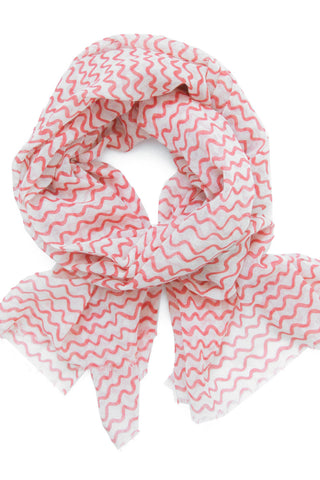 See Design Wiggle Scarf Red/White