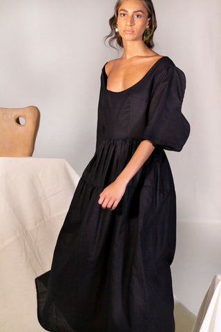 Step Sleeve Flare Dress