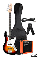 PHX JB-4 Jazz Bass Guitar with Deviser TB-15 Bass Amplifier, and Case