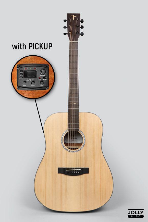 JCraft Troubadour TD-10E Dreadnought Acoustic Guitar with Pickups and soft case