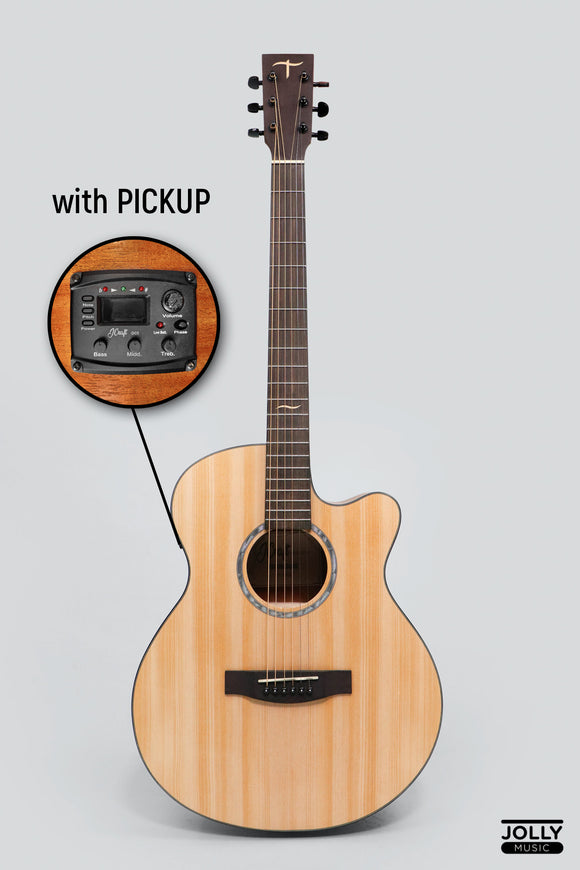 JCraft Troubadour TF-10CE Small Jumbo Acoustic Guitar with Pickups and soft case