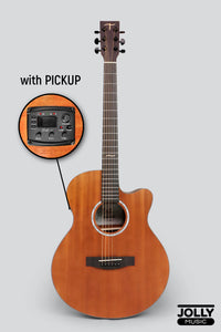 JCraft Troubadour TF-10MCE Small Jumbo All-Mahogany Acoustic-Electric Guitar with soft case