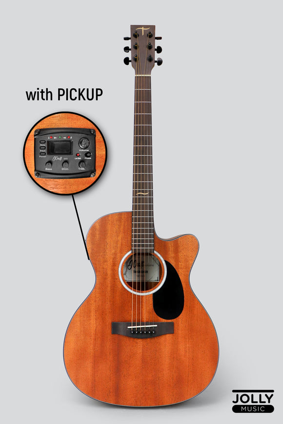 JCraft Troubadour TM-15CE Orchestra All-Mahogany Acoustic-Electric Guitar with soft case