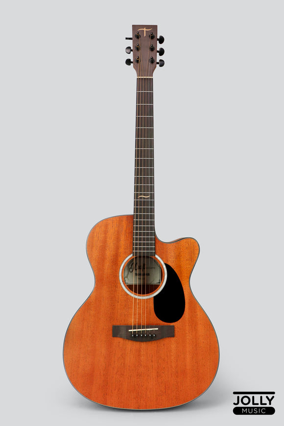 J-Craft Troubadour TM-15C All-Mahogany Orchestra Cutaway Acoustic Guitar with soft case