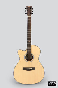 JCraft Troubadour TM-16C LEFT HAND Spruce Orchestra Cutaway Acoustic Guitar with soft case