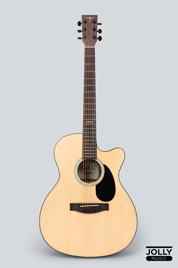 JCraft Troubadour TM-16C Spruce Orchestra Cutaway Acoustic Guitar with soft case