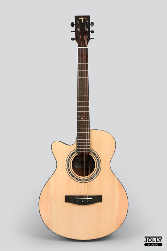 JCraft Troubadour TS-216C Left Hand Solid Top Grand Symphony Acoustic Guitar with Gigbag