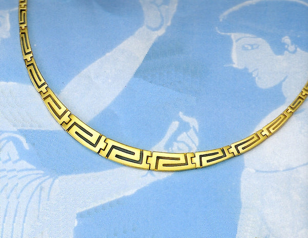 Gold Greek Key Meander Necklace