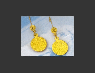 Gold Disk of Phaistos Earring