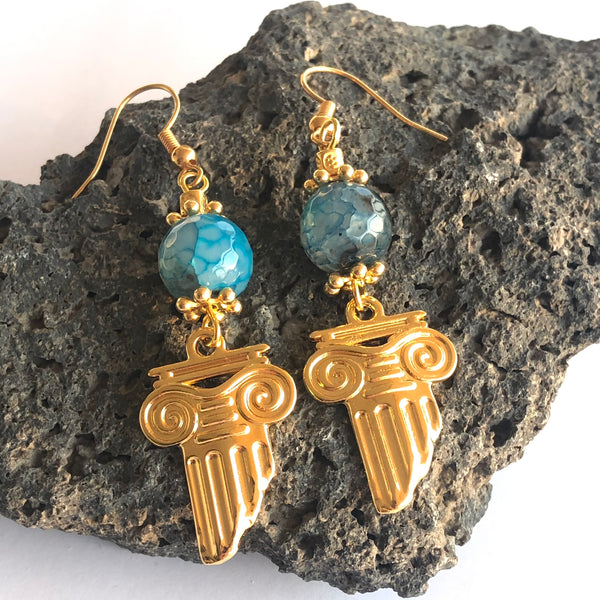 Greek column earrings