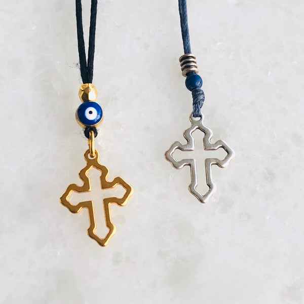 Cross necklace with eye