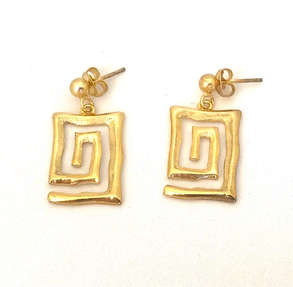 Ancient Greece Hammered Meander Sterling silver 925 - gold-plated Earrings  Ask a question