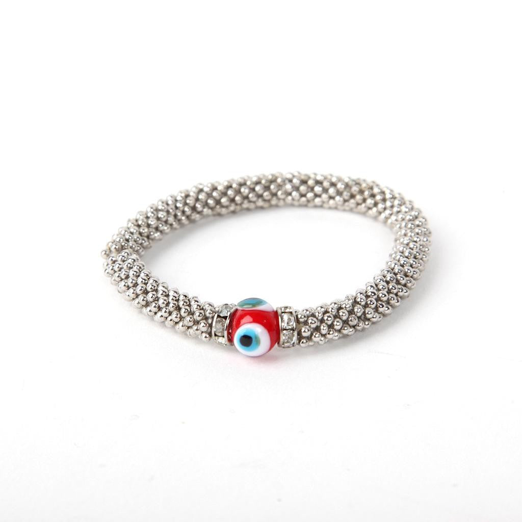 Metal Bracelet with Red Evil Eye