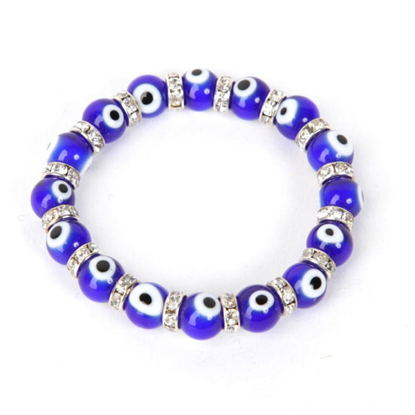 Evil Eye Blue Bracelet with Rhinestones
