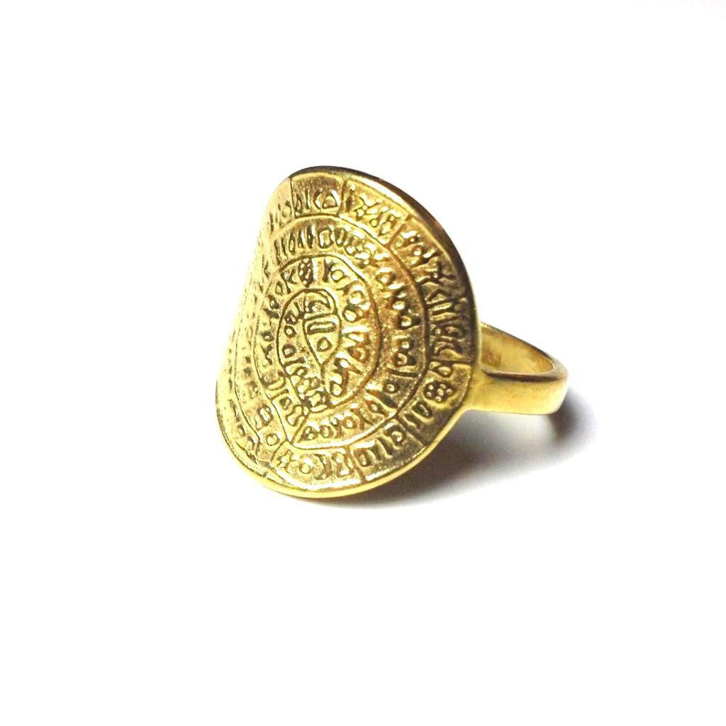 Minoan Phaistos Disk Gold Plated Ring