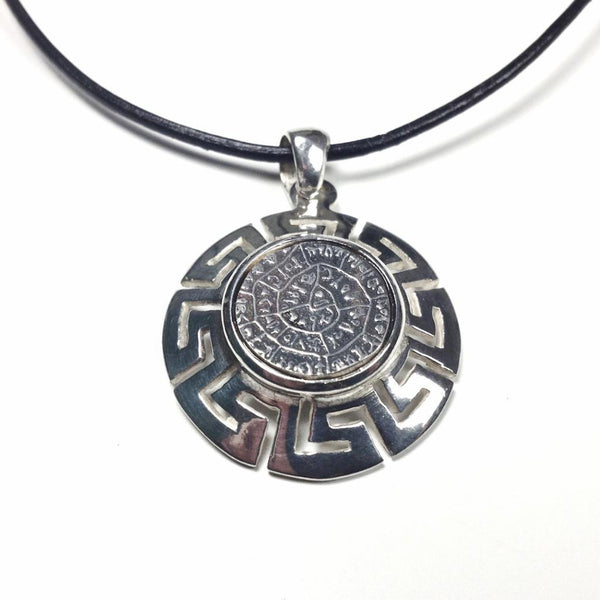 Minoan Phaistos Disk with Meander Bezel Pendant ~ Silver/24K Gold
