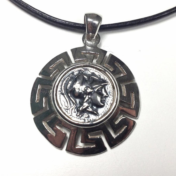 Goddess Athena Silver Pendant with Meander ~ 925 Sterling Silver