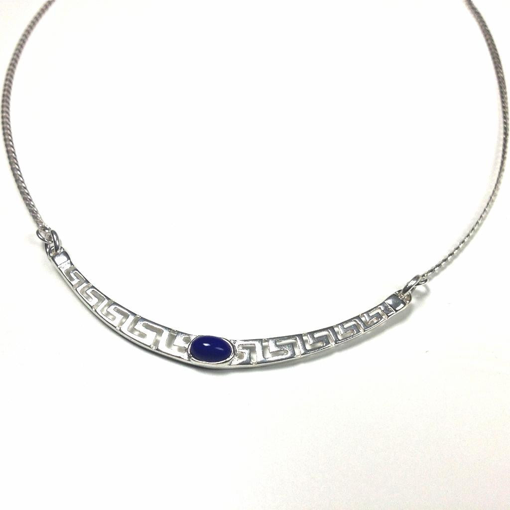 Meander Sterling Silver Necklace with Lapis Lazuli