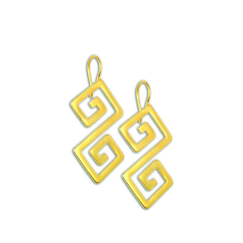 Double Meander ~ Gold Plated Earrings