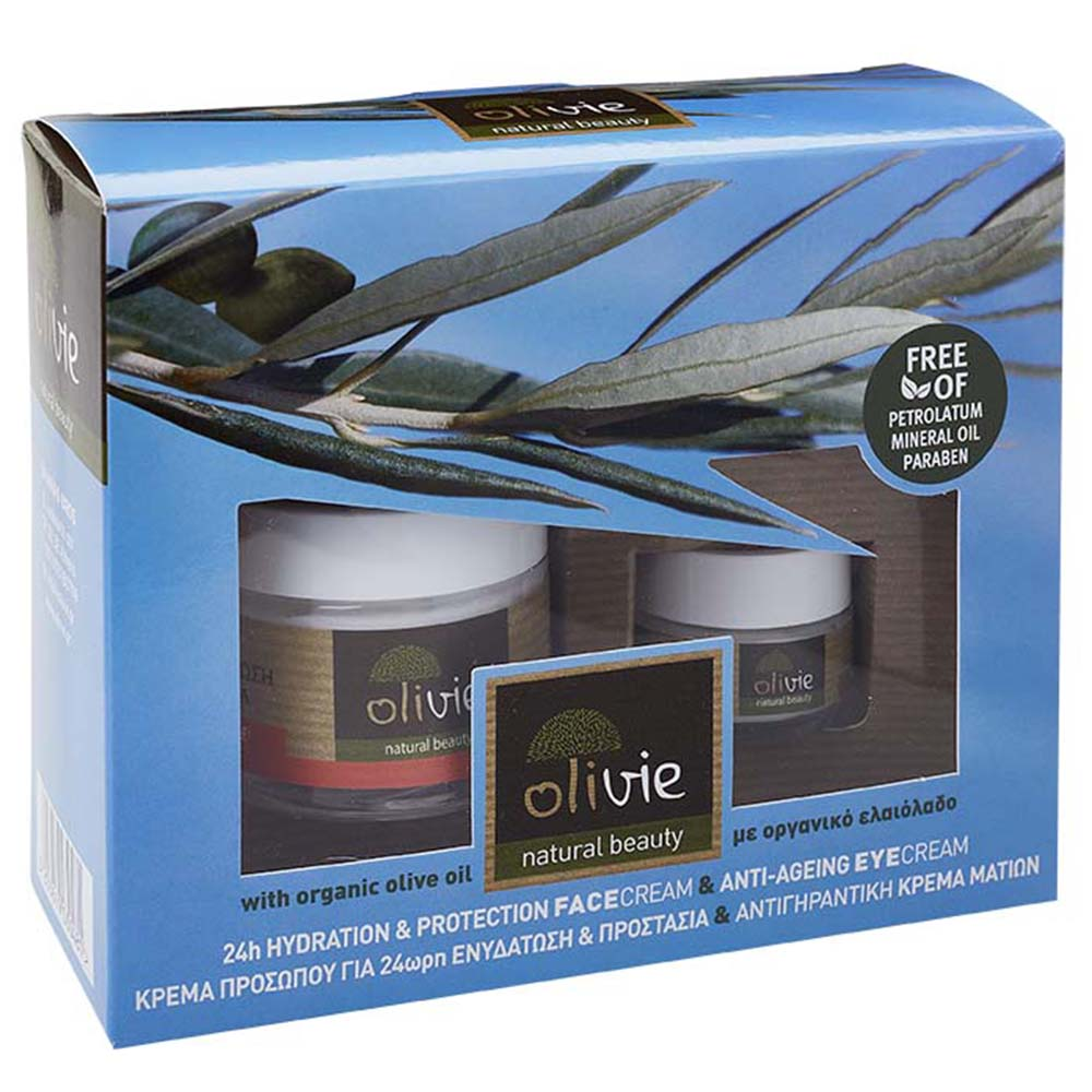 Olivie 24H Hydration & Protection Face Cream & Anti-Ageing Eyecream with Organic Olive Oil