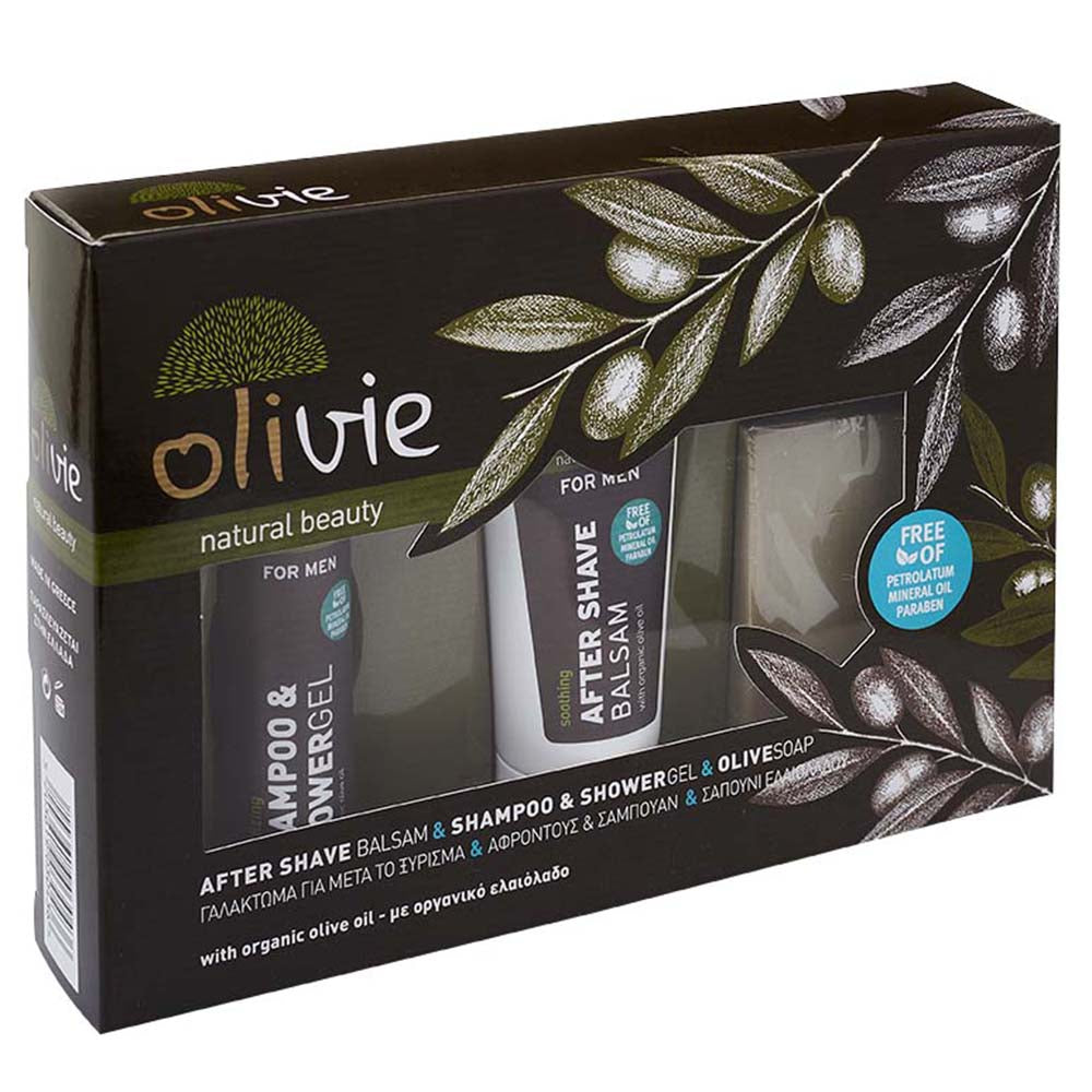Olivie After Shave Balsam & Shampoo & Shower Gel & Olive Soap with Organic Olive Oil