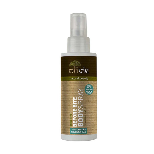 Olivie Before Bite Body Spray with Organic Olive Oil and Geranium & Basil