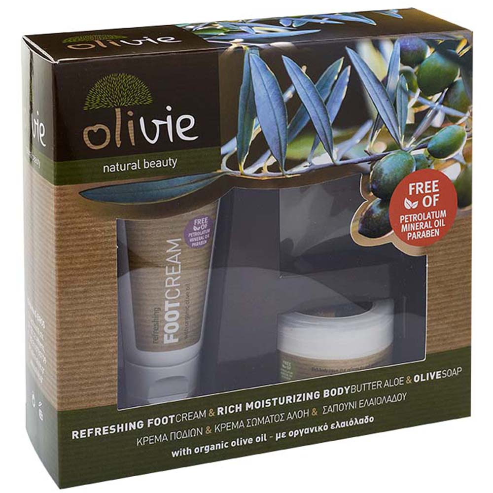 Olivie Refreshing Foot Cream & Rich Moisturizing Body Butter Aloe & Olive Soap with Organic Olive Oil