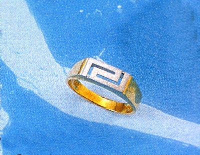 Gold & white gold Greek key band ring D118