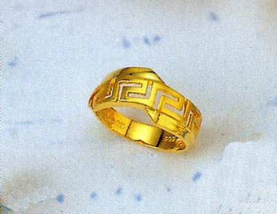 Gold Greek key band ring D121
