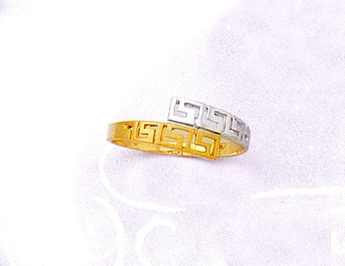 Gold & white gold Greek key band ring D163