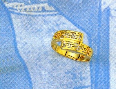 Gold Greek key band ring D165