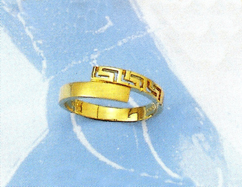 Gold Greek key band ring D174