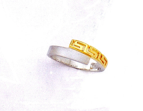 Gold & white gold Greek key band ring D176