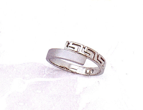 White Gold Greek key band ring D177