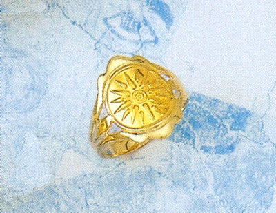 Gold Vergina Sun ring D214
